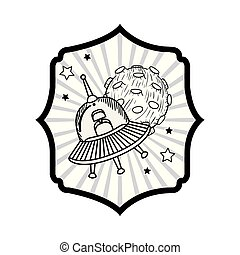 frame with alien spacecraft in space with white background