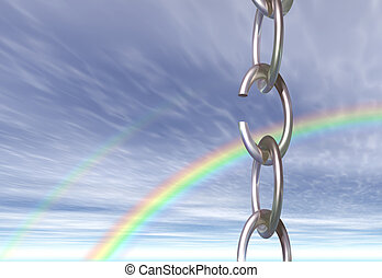 A chain with a broken link, seen against the sky with a rainbow