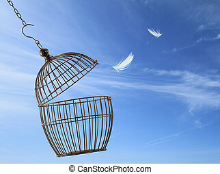 Freedom concept. Escaping from the cage