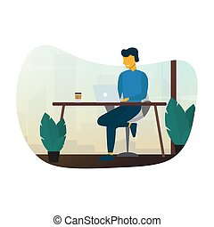 Freelance or study concept. Man work with laptop and sitting on the chair. Vector illustration.