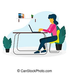 Freelance or study concept. Woman or Girl work with laptop and sitting on the chair. Vector illustration.