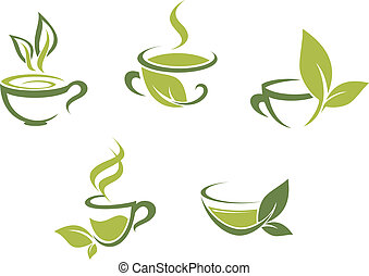 Cups of fresh tea and green leaves