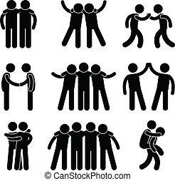 A set of pictogram representing friend, friendship, relationship, and teammate.