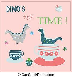 Friendly dinosaur's drinking tea, eating cakes. Tea time vector concept