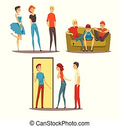 Friends having a good time together, people come to friends home, talking, best friends concept vector Illustration