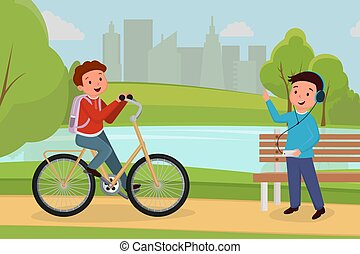 Friends meeting in urban park illustration. Boy riding bicycle, teen in headphones listening music in recreational city park cartoon color characters. People outdoor activity, leisure and pastime