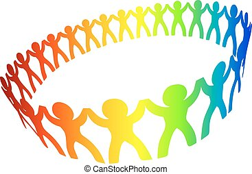 Circle of peoples for friendship or cooperation design