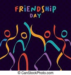 Friendship Day card colorful stick figure friends