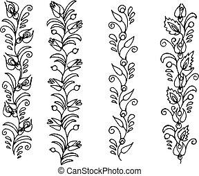 hand drawn, vector, illustration in Ukrainian folk style