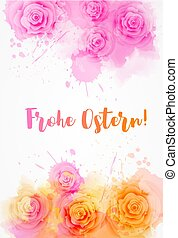 Frohe Ostern background with rose flowers