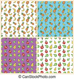 Fruits Seamless Background Set with Funny Bananas, Pineapples and Apples