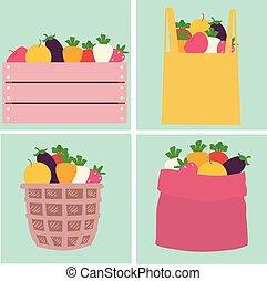 Fruits Vegetables Market Container Illustration