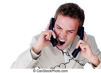 Frustrated businessman tangle up in phone wires