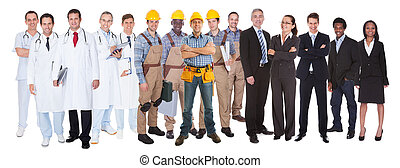 Full length of people with different occupations standing against white background