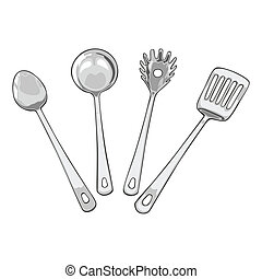 fully editable vector illustration of four tools for cooking