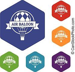 Fun air balloon icons vector hexahedron