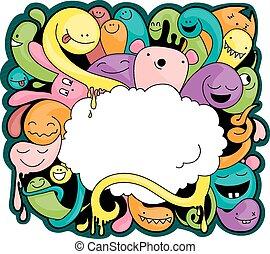 fun creatures doodle with copyspace