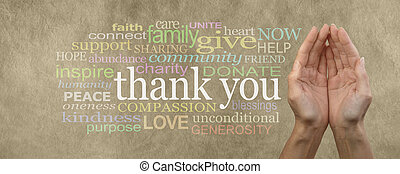 Female cupped hands on parchment effect background with a word cloud surrounding the word Thank You for seeking charitable donations and help