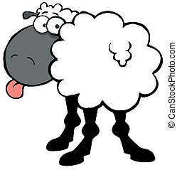 Funky Black Sheep Sticking Out His Tongue