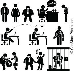 A set of pictogram representing business, office, workplace, boss, manager and employee.