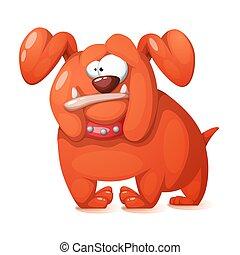 Funny, cute, crazy cartoon dog.