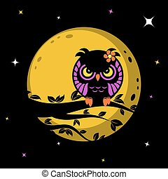Funny owl in front of the moon