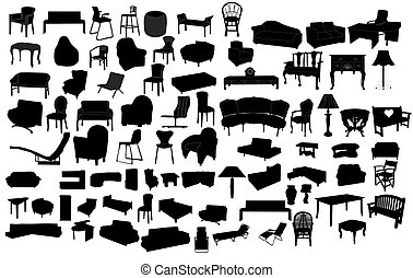 Different furniture isolated on white background