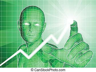 Futuristic green figure tracing upwards trend on graph.
