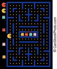 Game maze with ghosts.