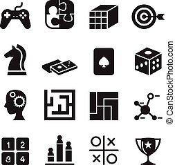 Game , puzzle, Dice, Maze, Jigsaw, joypad icons set Vector illustration