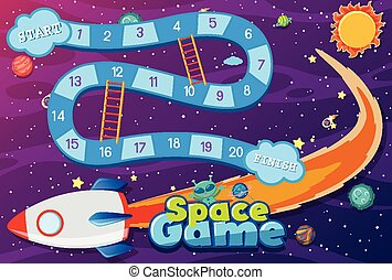 Game template with spaceship flying in space background
