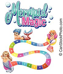 Game template with three mermaids and numbers