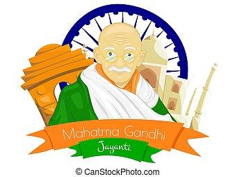 Gandhi Jayanti is a national holiday in India celebrated. Mohandas Karam Chandra Gandhi Birthday. Vector illutration
