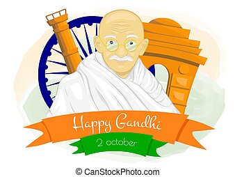 Gandhi Jayanti is a national holiday in India celebrated. Vector illutration