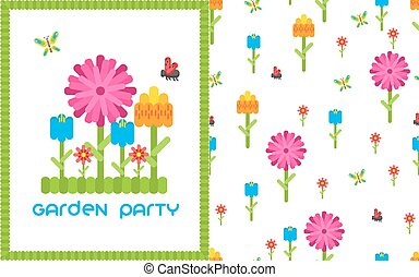 Garden floral party vector card template. Flowers and butterfly on white banner.
