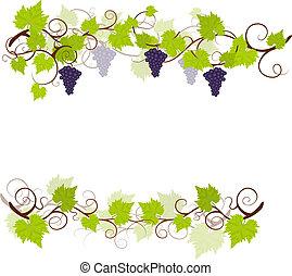 Garden grape vines frame. Vector illustration.