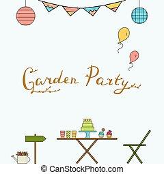 Garden party line icon set.
