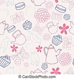 Garden Tea Party Seamless Pattern Design