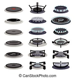 Gas burner vector cartoon icon set . Collection vector illustration stove flame on white background. Isolated cartoon icon set gas burner for web design.