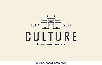gate culture mosque lines logo design vector icon symbol illustration