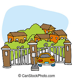 An image of a car at the front gate of a gated community.