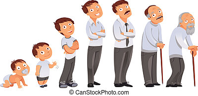 Generations men. All age categories - infancy, childhood, adolescence, youth, maturity, old age. Stages of development. Vector illustration