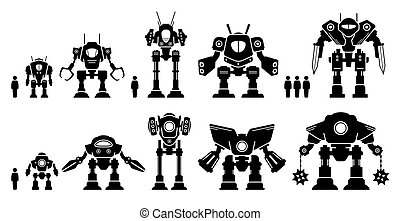 Giant mecha robot or battle bot set collection.