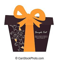 Gift box card with floral elements