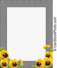 Gingham Frame, Gold Pansy Flowers