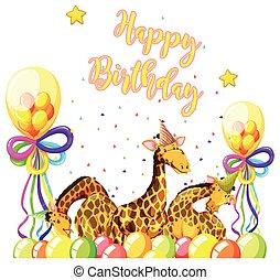 Giraffe with birthday theme