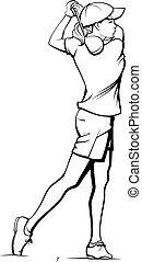 Girl Golfer Teeing Off