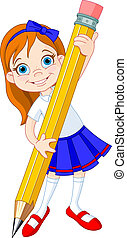 Illustration of Little Girl and Giant Pencil