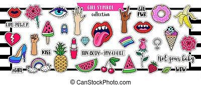 Girl Power set. Fashion patch badges with lips, hearts, stars and other elements.