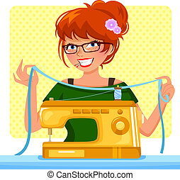 girl ready to sew with her sewing machine